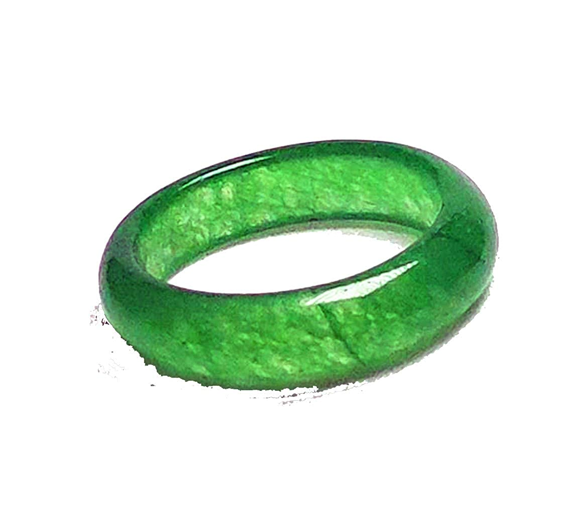 yigedan Women Natural Green Jade Jadeite Ring Simple Band Ring azp21601