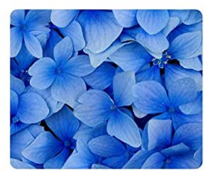 Blue Hydrangea Blossoms Gaming Mouse Pad - Unique Personalized Oblong Shaped Mouse Pad Design Natural Eco Rubber Durable Computer Desk Stationery Accessories Gifts For Mouse Pads - Support Wired Wireless or Bluetooth Mouse by Maris's Diary