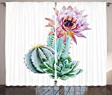 Ambesonne Cactus Decor Curtains, Cactus Spikes Flower in Hot Mexican Desert Sand Botanic Natural Image, Living Room Bedroom Window Drapes 2 Panel Set, 108 W X 84 L Inches, Pink Green and Blue