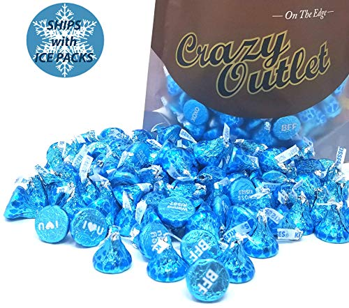 CrazyOutlet Pack - Hershey's Kisses Conversation Blue Foil, Milk Chocolate Wedding Candy, 2 lbs