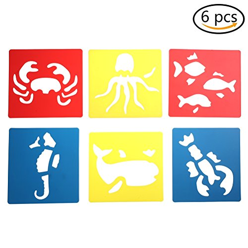 6 Pcs/Set Plastic Painting Template Sea Creatures Drawing Stencil Templates for Kids Crafts,Washable Template for School Projects by HONGTIAN