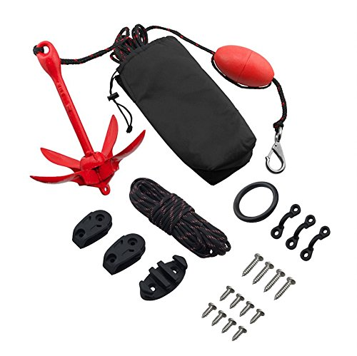 Anchor 3 Folding Lb (Vibe Anchor Trolley and 3 lb Grapnel Anchor Kit for Kayaks and Canoes: Includes 30 Foot Rope)