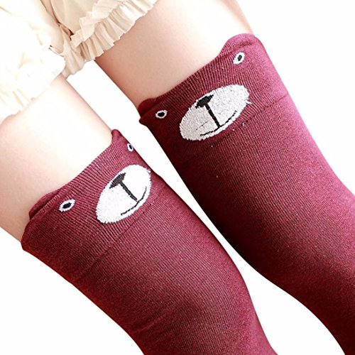 Women Winter Cat Bear Panda Knitted Over Knee Long Boot Thigh-High Warm Socks (Red) ()