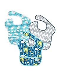Bumkins Waterproof SuperBib 3 Pack, B90 (Whales/Sea Friends/Gray Chevron) (6-24 Months)