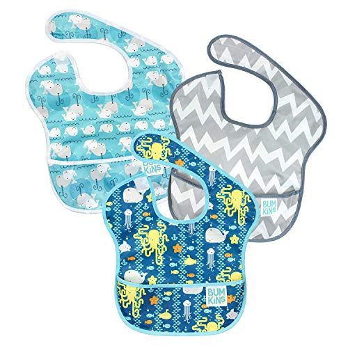 Bumkins SuperBib, Baby Bib, Waterproof, Washable, Stain and Odor Resistant, 6-24 Months, 3-Pack - Whales, Sea Friends, Gray Chevron