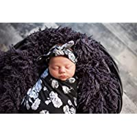 Black Floral Newborn Swaddle Set