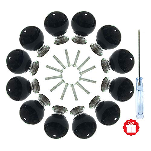 ANJUU 12 Pcs 30mm Round Shape Bubble Crystal Glass Cabinet Knobs with Screws Drawer Knob Pull Handle Used for Kitchen, Dresser, Door, Cupboard (Black) (Dresser Glass Black)