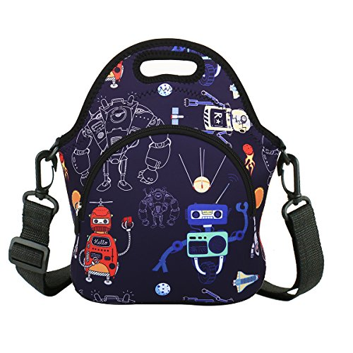 Neoprene Lunch Bag Cool Robots Lunch Box with Zipper Pocket & Strap Thermal Insulated Tote Waterproof for Boys