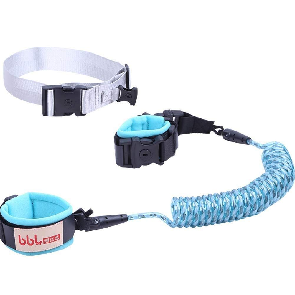 Children Anti-Lost Traction Rope Hand Ring with Lock Safety Belt Safety Rope (Color : Blue, Size : 2m)