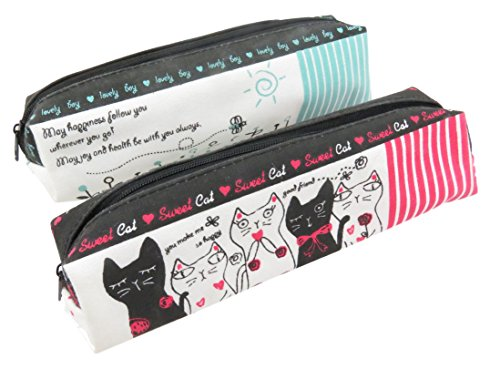 Cat Sunny Day Pencil Pen Cosmetic Case Pouch Bag 7 1/4 x 2 Pink Teal White (Set of - Sunglasses Kpop