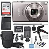 Canon PowerShot ELPH 360 HS(Silver)with 12x Optical Zoom & Built-In Wi-Fi with Deluxe Starter Kit 32GB SDHC +Flexible Tripod + AC/DC Turbo Travel Charger + Extra battery + Protective Camera Case