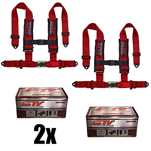 """STVMotorsports 4 Point Harness Set - 3"""" Pads - Universal H-Type - Bolt In - Latch and Link Quick Release - for Off-Road, UTV, Trucks, Side by Side (PAIR) (Red)"""