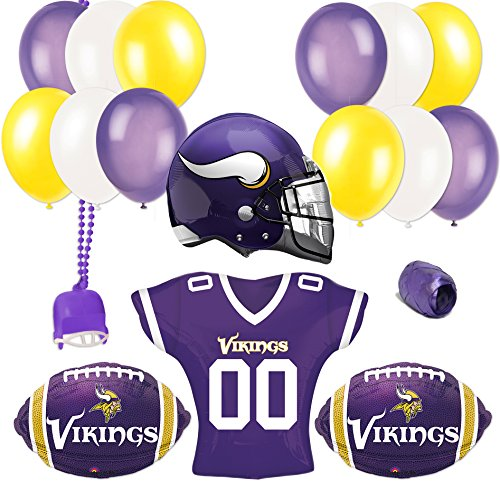 Minnesota Vikings Football Super Bowl Party Helmet Jersey 18pc Balloon Pack (Minnesota Vikings Party Pack)