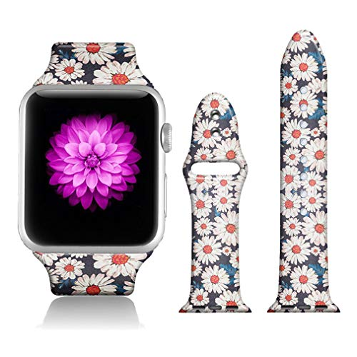- FTFCASE Sport Bands Compatible with iWatch 38mm/40mm Totem Flower - Daisy, Flower Printed Soft Silicone Strap Replacement for iWatch 38mm/40mm Series 4/3/2/1 Women Men