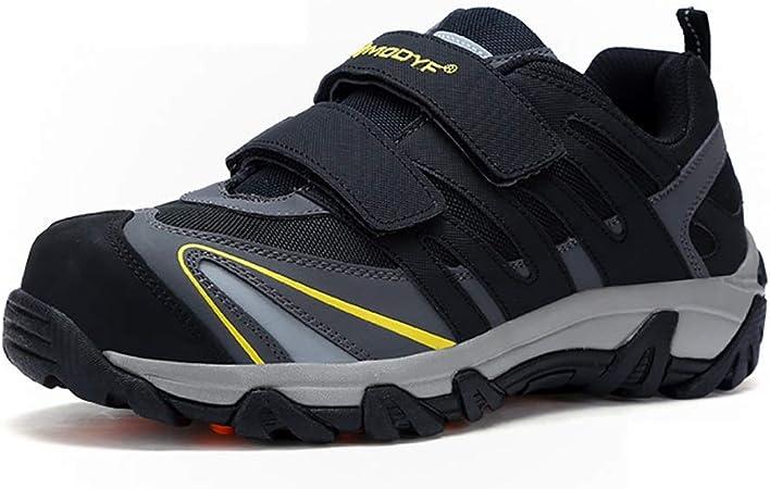 Zapatos de seguridad Calzado de seguridad, dedo del pie de acero reflectante Franja zapatos con punta de acero Suela intermedia trabajo del metal, MD + suela de goma, suave, antideslizante y resistent:
