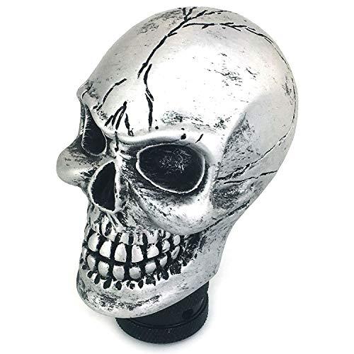 Thruifo Skull MT Car Stick Shifter, Small Teeth Devil Head Style Gear Shift Knob Fit Most Manual Automatic Vehicles, Silver (Skull Head Car)