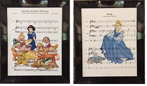 Snow White and Cinderella Set of 2 Music Sheet Prints Artwork Picture Poster Home Office Bedroom Nursery Kitchen Wall Home Decor - unframed