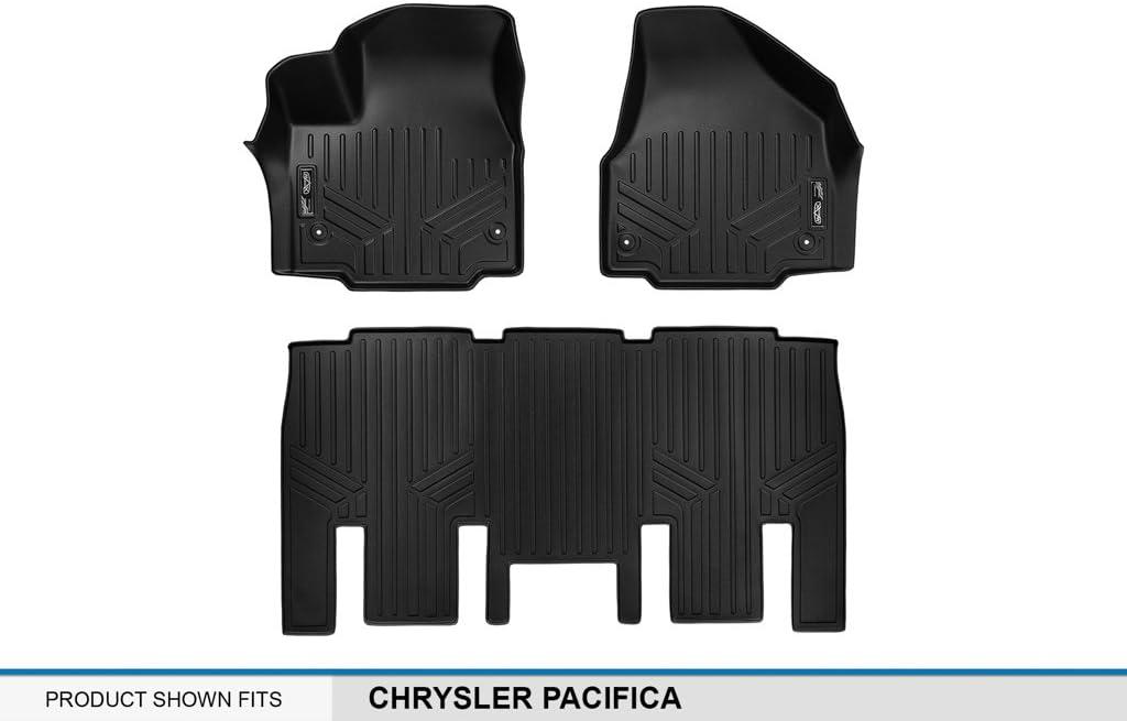 MAXLINER Floor Mats 2 Rows and Cargo Liner Behind 3rd Row Set Black for 2017-2018 Chrysler Pacifica 8 Passenger Model Only No Hybrid Models