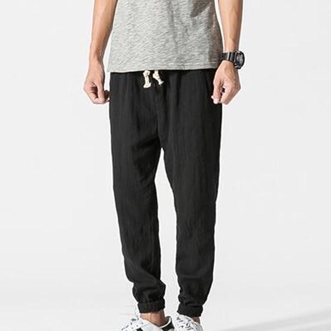 Hombre Pantalones de Lino, Cómodo Loose Fit Pantalón de Cintura Elástica Moda Color Sólido Cintura Media Casual Verano Pantalones…
