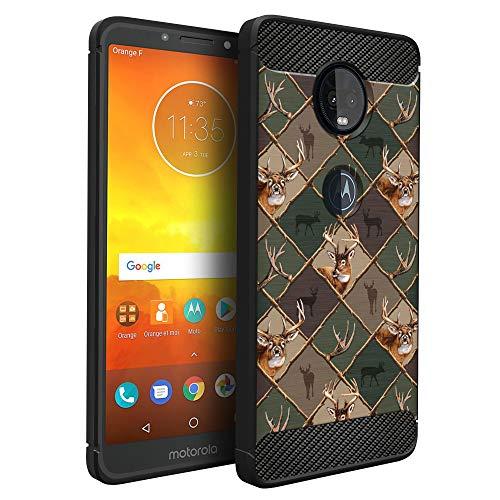 (CasesOnDeck Case Compatible with [Motorola Moto E5 Plus   Moto E5 Supra] Moto E5 Plus Design Case, Slim Black Flexible Sleek Shock Protection TPU Case (Deer Emblem Pattern))