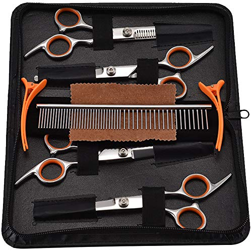 Pet Grooming Scissors Set 5-in-1 Dog Grooming Kit Sharp Durable Stainless Steel Safety Round Tip Trimming Long Short-haired Dog Cats Other Fur Pets Salon Cut-Orange