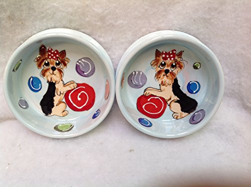 Yorkie 8''/6'' Pet Bowls for Food/Water. Personalized at no Charge. Signed by Artist, Debby Carman. by Faux Paw Productions, Inc., Laguna Beach, CA