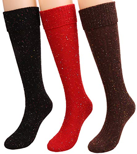 Women Warm Knit Cotton Cuff Knee High Boot Socks 3 Pairs SC3 (mixed color 1)