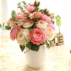 Ivalue 2PCS Artificial Rose Flower Arrangements Wedding Bouquets Silk Fake Flowers Plants for Home Decoration (B-Champage Pink, 2) 5