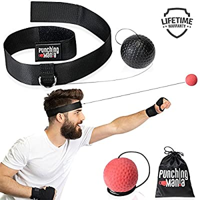 Punching Mania Boxing Reflex Ball for Adults and Kids – 2 Pro Punching Fight Balls on String for Hand Eye Coordination and Cardio Training, Boxing Workout Equipment – BONUS Carry Bag + Replacement KIT