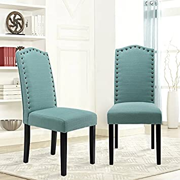 LSSBOUGHT Set of 2 Luxurious Fabric Dining Chairs with Copper Nails and Solid Wood Legs Laguna