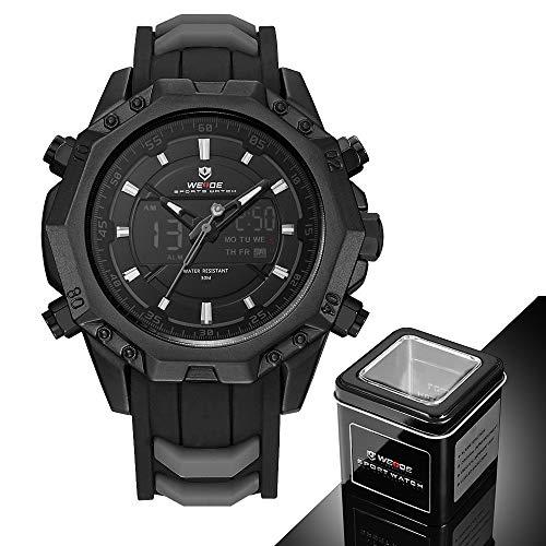 WEIDE Men Analog Sport LCD Digital Rubber Band Buckle Hardlex Calendar Auto Date Day Quartz Dual Time Display Black Wristwatch -