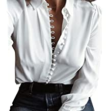 Tloowy 2017 New Fashion Women's Casual Button-down Blouse Solid Long Sleeve Lapel Shirt Tops
