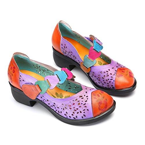 High Jane Pumps Flats Schuhe Halbschuhe Schuhe Mary Klassische Blockabsatz Leder Party Pumps Slipper Vintage Heels gracosy Lila Damen BgFwqSFO