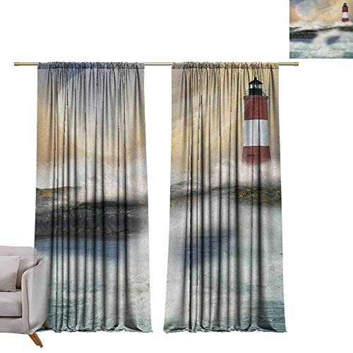 berrly Grommet Blackout Curtains Lighthouse,Oil Painting Style Artwork of Stormy Sea Splashing Waves Moon and Lighthouse, Multicolor W84 x L108 Art Drapery Panels