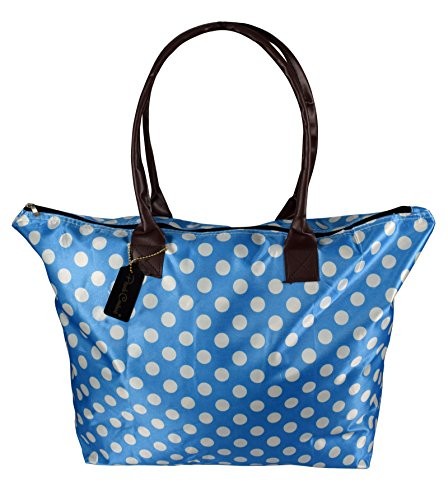 - Peach Couture Womens Beach Fashion Large Travel Tote Handbag Shoulder Bag Purse Polka Dot Light Blue White