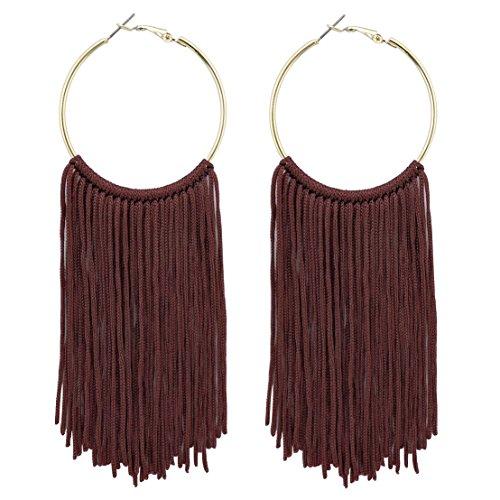 COIRIS New Fashion Hoop Statement Tassels Dangle Drop Earrings For Women (ER1083-Wine Red)