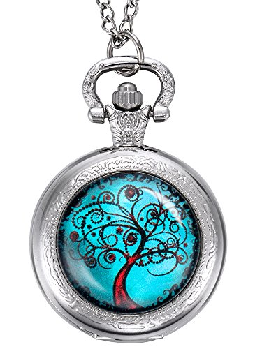 Hicarer Life Tree Pocket Watch, Christmas Gifts for Mother, Bride, Bridesmaids, Wedding, Silver by Hicarer