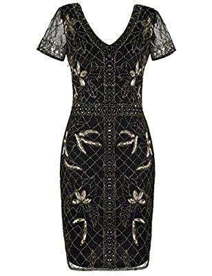 PrettyGuide Women's Flapper Dress Bead Deco Short Sleeve 1920s Gatsby Dress