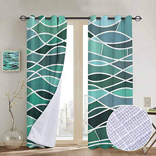 NUOMANAN Modern Farmhouse Country Curtains Seafoam,Stained Glass Pattern with Wavy Lines and Mosaic Abstract Geometric Composition, Multicolor,Design Drapes 2 Panels Bedroom Kitchen Curtains 84