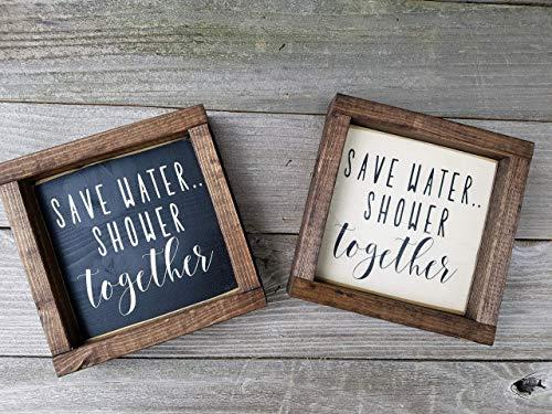 Save Water Shower Together Wood Framed Bathroom Mini Box Sign