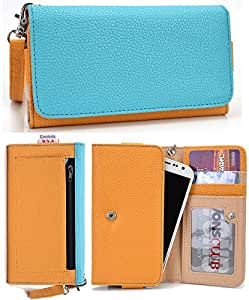 Universal PU Leather Case Cover&Wallet w/Clear ID Slot for Motorola Moto G (2014)[YELLOW/BLUE] NuVur &153;