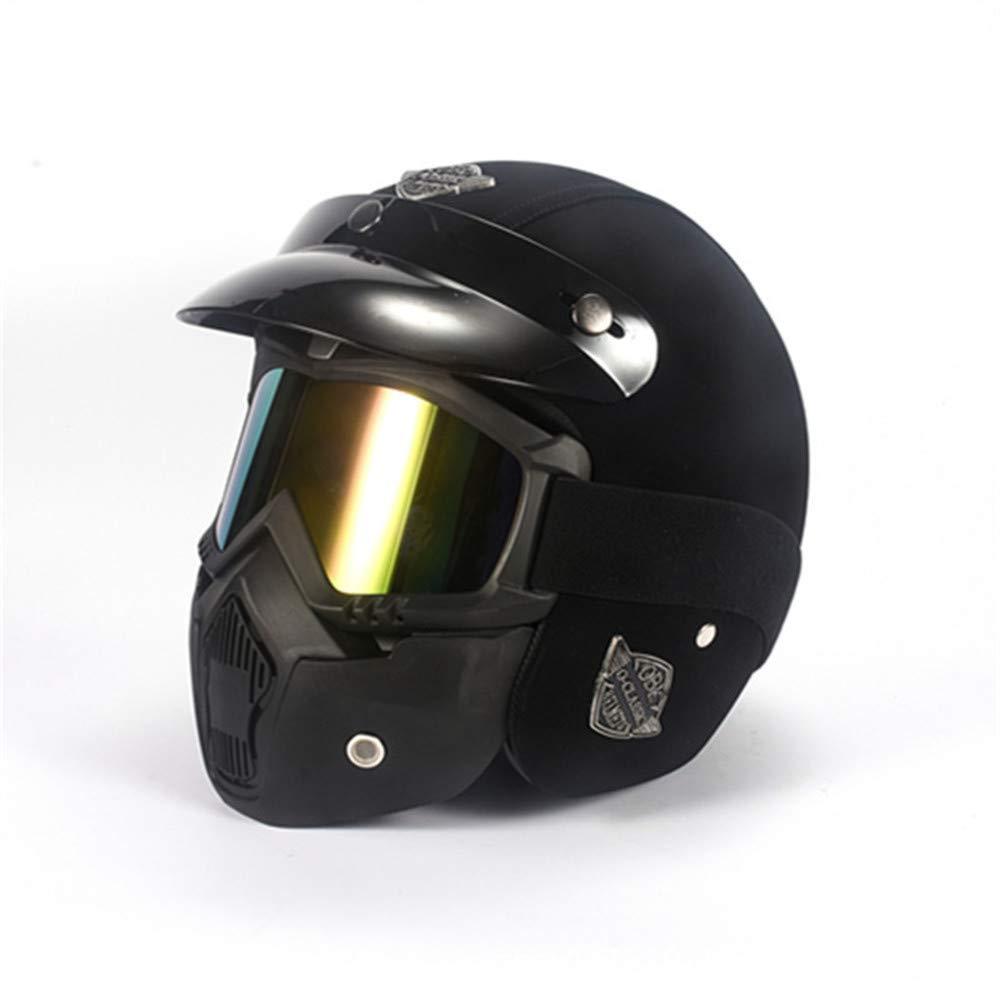 LLCP Casco De Moto Retro Hecho A Mano, Harley-Davidson Motorista Casco, Casco con Máscara, Casco De Bicicleta De Montaña,D: Amazon.es: Deportes y aire libre