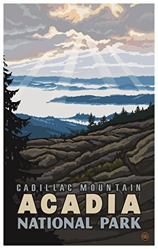 (Cadillac Mountain Acadia National Park Travel Art Print Poster by Paul A. Lanquist (12