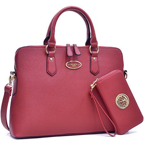 Dasein Designer Faux Leather Top Handle Slim Satchel Briefcase Shoulder Bag Purse Handbag Wallet Set- 2pcs