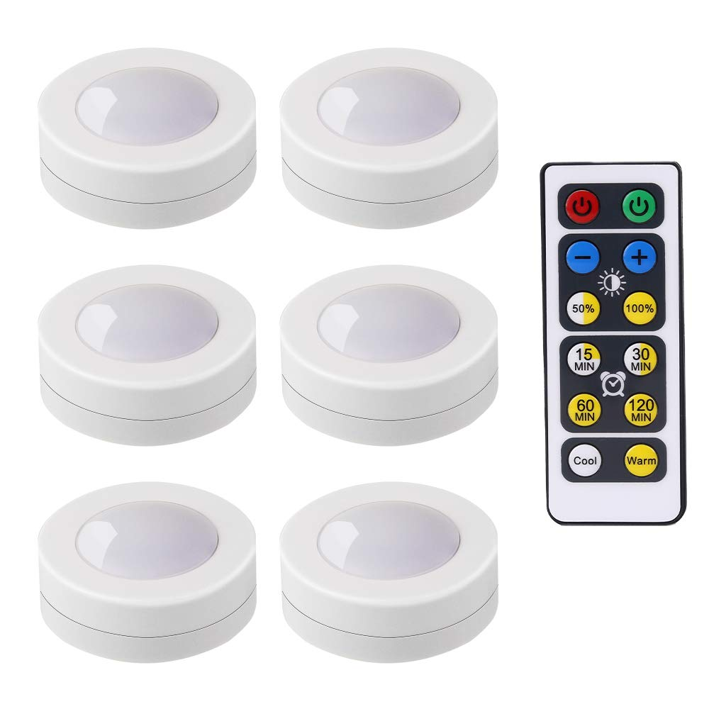 LEDERA Wireless LED Puck Lights, Kitchen Under Cabinet Lighting with Remote Control, Battery Powered Dimmable Closet Lights, 6 Pack