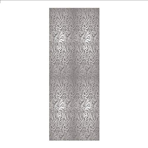 - Decorative Privacy Window Film/Traditional Paisley Pattern Old Fashioned Royal Floral Ornamental Tile Design Decorative/No-Glue Self Static Cling for Home Bedroom Bathroom Kitchen Office Decor Dimgray