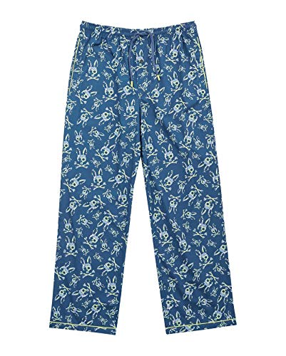 Psycho Bunny Men's Woven Lounge Pants (Key Lime Bunny, X-Large)