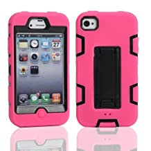 iPhone 4 Case, iPhone 4S Case, Lantier Powerful Protection [3 In1 Color Mix Design],Hybrid Hard Soft Durable Bumper Case Armor Case Back Cover Case with Kickstand for Apple iPhone 4 4S Hot Pink-Black