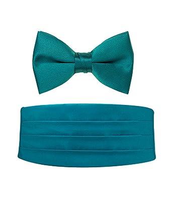 4f5f9851db29 Teal Satin Bow Tie and Cummerbund Set: Amazon.co.uk: Clothing