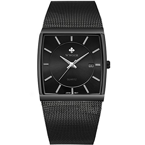 Black Watch Date - Mens Square Analog Quartz Watch with Date Luminous Waterproof Black Stainless Steel Mesh Band Rectangle Casual Business Wrist Watches